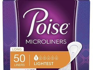 Poise Daily Incontinence Microliners for Women  long  50 Ct