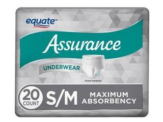 Equate Assurance Underwear for Men  Maximum  S M  20 Ct