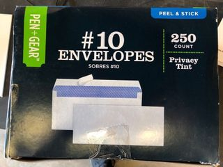 pen Gear  10 Envelopes  Peel   Stick Closure  White  Privacy Tinted