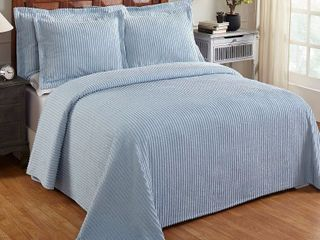 Better Trends Julian Collection in Solid Stripes Design 100  Cotton Tufted Chenille  Queen Bedspread  Blue