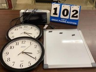 Clocks and Dry Erase Magnetic Board
