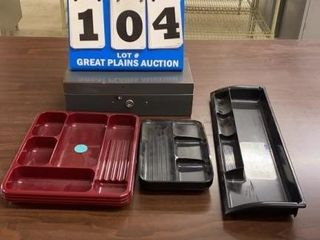Assorted Drawer Organizers and Cash Box