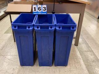 lot of 3 Rubbermaid Recycling Bins