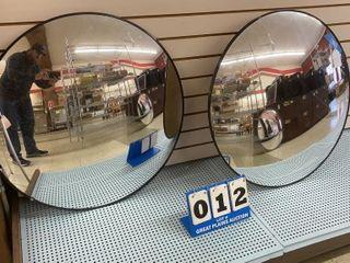 Pair of Mounted Circular Mirrors