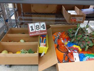 Basketball items  plastic fruit  art supplies