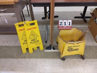 Commercial mop bucket and floor caution signs