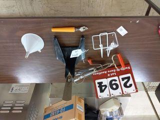 Assorted Items  hand held mixer  scoop holder