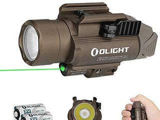 Olight Baldr Pro 1350 lumens Tactical Flashlight with Green light and White lED Compatible with 1913 or Gl Rail  Powered by 2 CR123A Batteries with SKYBEN Battery Box  Desert Tan