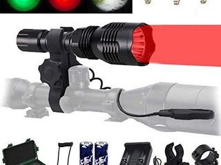 VASTFIRE Predator light with Interchangeable  Red  Green  White  lED Hunting Flashlight with Scope Mount for Hog Coyote Coon Bobcat Raccoon Varmint Rabbit Night Hunting
