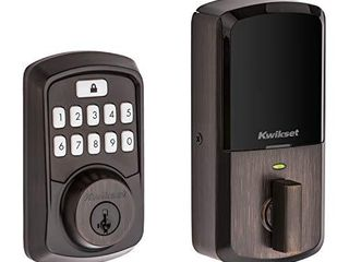Kwikset 99420 002 Aura Bluetooth Programmable Keypad Door lock Deadbolt Featuring SmartKey Security  Venetian Bronze