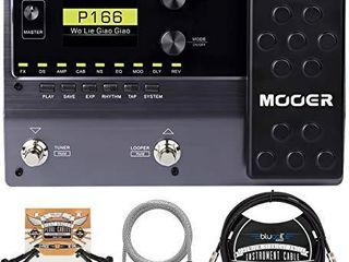 MOOER GE150 Guitar Amp Modelling and Multi Effects Pedal Bundle with Blucoil 10 FT Straight Instrument Cable  1 4in  2 Pack of Pedal Patch Cables  and 5 FT Audio Aux Cable