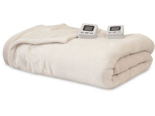 SensorPEDIC Electric Warming Blanket with SensorSafe   Two Digital Controllers   Queen Ivory