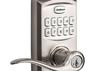 Kwikset 99170 001 SmartCode 917 Keypad Keyless Entry Traditional Residential Electronic lever Deadbolt Alternative with Tustin Door Handle and SmartKey Security  Satin Nickel