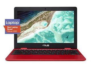 Asus Chromebook C223 laptop  11 6  Intel Dual Core Celeron N3350 Processor  Up to 2 4GHz  4GB RAM  32GB eMMC Storage  C223NA DH02 RD Red
