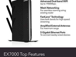 NETGEAR WiFi Mesh Range Extender EX7000   Coverage up to 2100 sq ft  and 35 devices with AC1900 Dual Band Wireless Signal Booster   Repeater  up to 1900Mbps speed  plus Mesh Smart Roaming