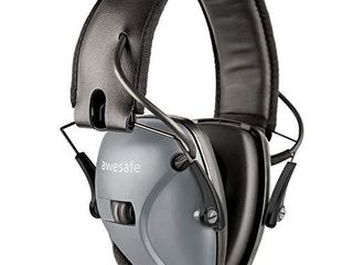awesafe Electronic Shooting Earmuffs  Shooting Hearing Protection with Noise Reduction Sound Amplification  Grey