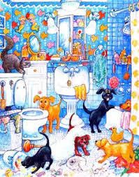 Design Art Dogs  amp  Cat Bathroom Canvas Art
