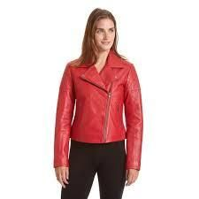 Excelled Womens Asymmetrical leather Motorcycle Jacket