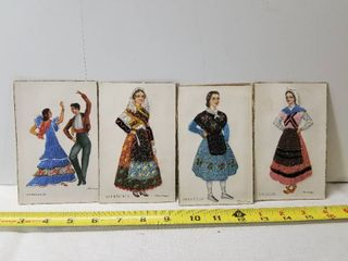 lot of Four Unique Stitched Post Cards from Spain