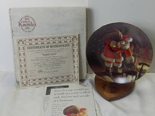 Edwin M Knowles China Company 1991  Santas love  by Tom Browning Porcelain Plate with Box and Certificate of Authenticity