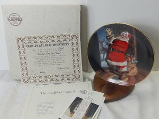 Edwin M Knowles China Company 1992 The Sundblom Santa Series  Santas On His Way  Inspried Art by Haddon Sundblom Porcelain Decorative Plate with Box and Certificate of Authenticity