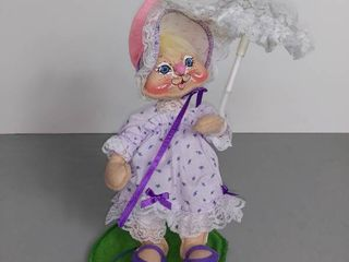 Annalee Doll 1990 Bunny With lavander Dress And Umbrella