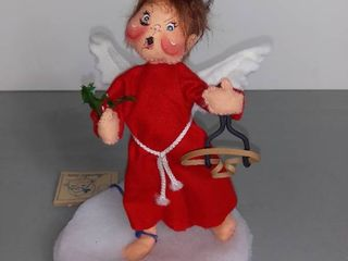 Annalee Dolls 1995 Awnry Angel Boy   Red Dress And Sling Shot