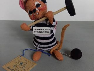 Annalee Dolls 1994 Mouse Prisoner With Ball And Chain And Hammer