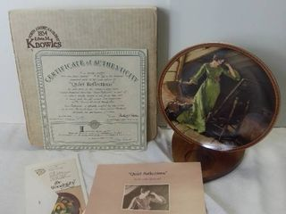Edwin M Knowles China Company  Quiet Reflections  by Normal Rockwell Porcelain Decorative Plate with Box and Certificate of Authenticity
