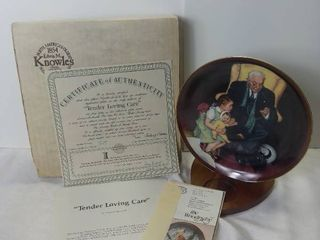 1988 Edwin M Knowles China Company  Tender loving Care  by Normal Rockwell Porcelain Decorative Plate with Box and Certificate of Authenticity
