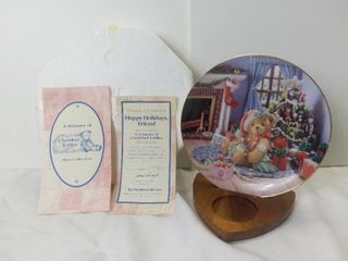 The Hamilton Collection A Treasury of Cherished Teddies by Enesco Plate Collection  Happy Holidays  Friend  1994 Decorative Porcelain Plate with Box and Certificate of Authenticity