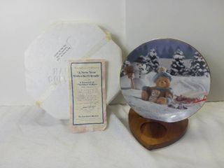 The Hamilton Collection A Treasury of Cherished Teddies by Enesco Plate Collection  A New Year With Old Friends  1994 Decorative Porcelain Plate with Box and Certificate of Authenticity