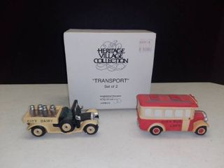 Dept  56 Heritage Village Collection  Transport Bus and Dairy Truck