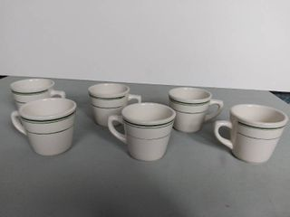 lot Of 6 Tea Or Coffee Mugs   Green lines Detailing   Made In China