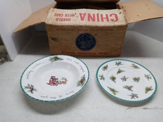 lot Of Mikasa Ultima Holiday Dishes 8 Med Plates And 4 large Bowls