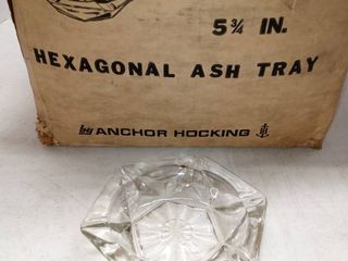 Mega lot Of Hexagonal Ash Trays From Anchor Hocking