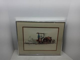 Vintage Framed Picture Of A Farm Scene From A local Artist