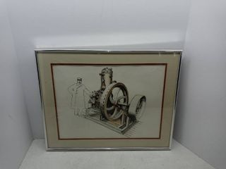 Vintage Framed Drawing Of An Industry Scene From local Artist