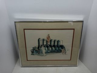 Framed Artwork Of Men Working In A Factory By local Artist
