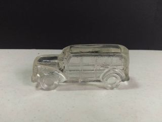 Vintage Clear Glass Woody Station Wagon Candy Container