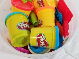 large lot of Play Doh and Tons of Stamping Cutters  Play Doh Still Good