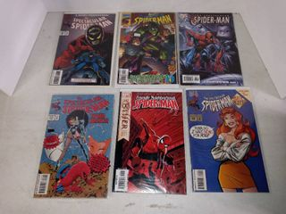 lot Of 6 Assorted Spider man Comic Books