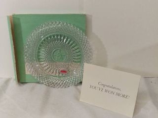 AVON Exclusive lead Crystal from Avons 92nd Anniversary Prize Program   The First Representative Crystal Plate with Original Box