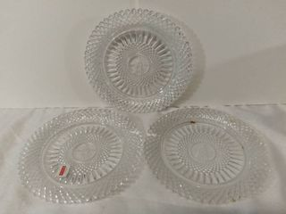 lot of 3 AVON Exclusive lead Crystal from Avons 92nd Anniversary Prize Program   The First Representative Crystal Plate   One Plate is Broken