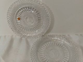 lot of 2 AVON Exclusive lead Crystal from Avons 92nd Anniversary Prize Program   The Avon Key Crystal Plate   Both Plates are Slightly Damaged