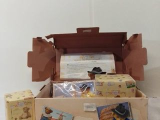 The Cherished Teddies Club 2001 Charter Club Membership Figurine and Mystery Bear in Cute Travel Box