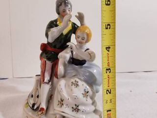 Handpainted Figurine Made in Occupied Japan  Man and Woman and Musical Instrument