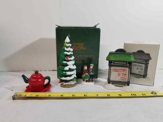lot of Cute Christmas Decor  Christmas In The City Audreys Hallmark  Heritage Village Collection The Holly and The Ivy  And Small Tea Pot