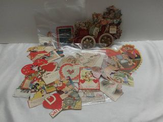 Small lot of Vintage Valentine s Day Cards   Wagon Card  lion  little Angels and other Characters on Cards