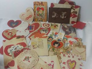 Small lot of Vintage and Homemade Valentine s Day Cards   Homemade Heart Cut Outs  little Angels Working  Santa Card